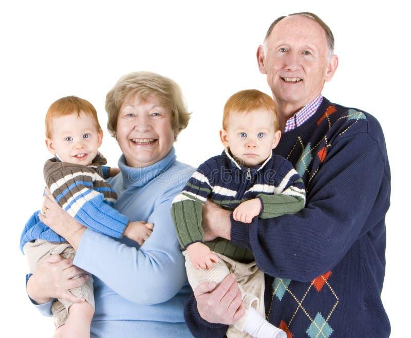 Abuelos y nietos fotografía de archivo libre de regalías