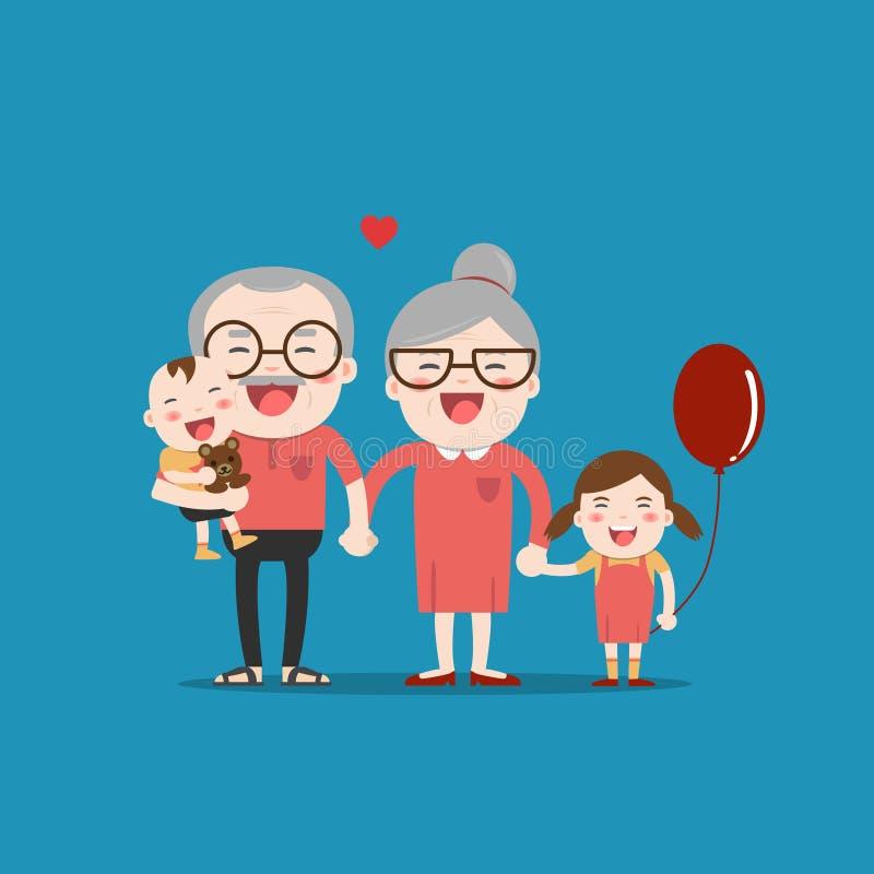 Abuelos y nietos ilustración del vector