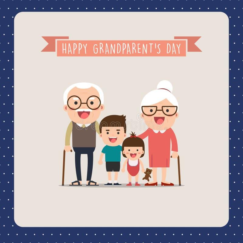 Abuelos y nietos stock de ilustración