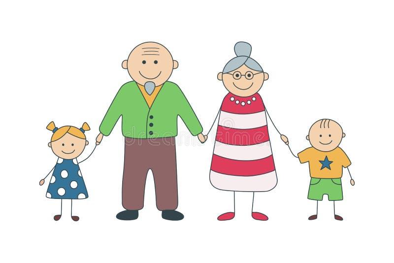 Abuelos y nietos felices Ejemplo del vector en estilo de la historieta stock de ilustración