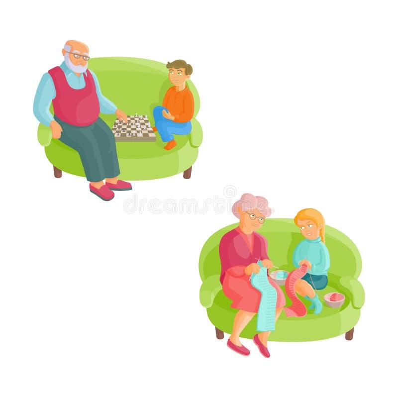 Abuelos y nietos - haciendo punto, ajedrez ilustración del vector