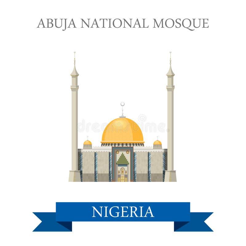 Abuja nationell moské Nigeria Plan historisk vecto stock illustrationer