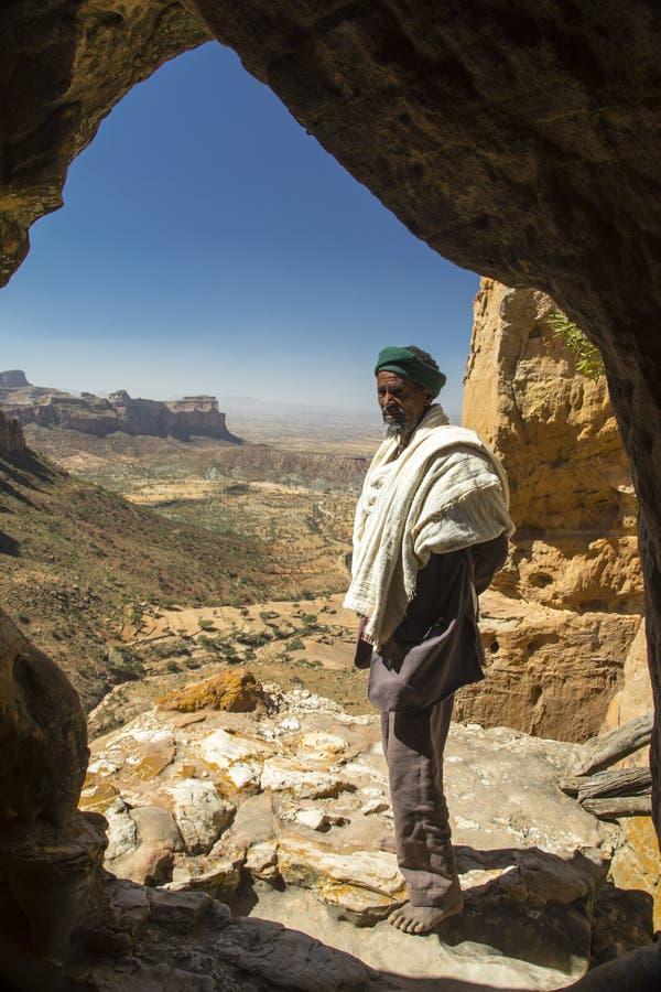 Abuna Yemata Guh, chiese spaccate roccia di Tigray Massiccio di Gheralta fotografia stock
