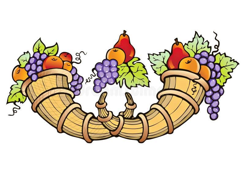 Abundância de colheita da fruta ilustração stock