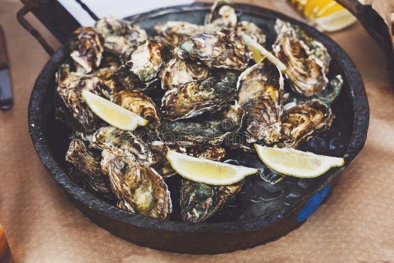 Abundância do marisco, ostras na bandeja da grade imagens de stock royalty free
