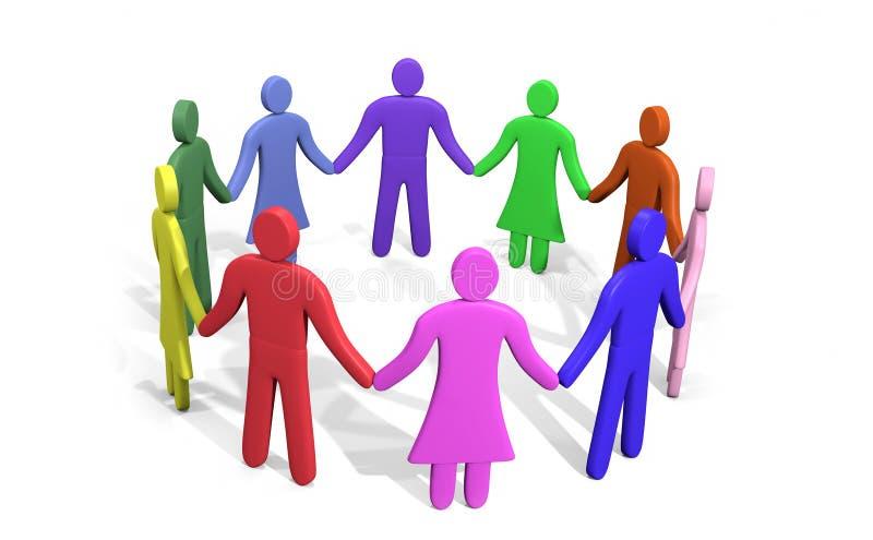 Abundância dos povos coloridos que estão em um círculo que guarda as mãos ilustração do vetor