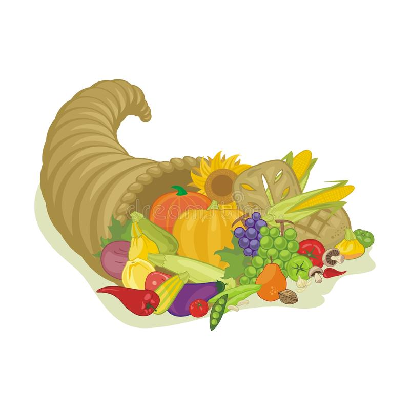 Abundance Horn. With various harvest fruits and vegetables stock illustration