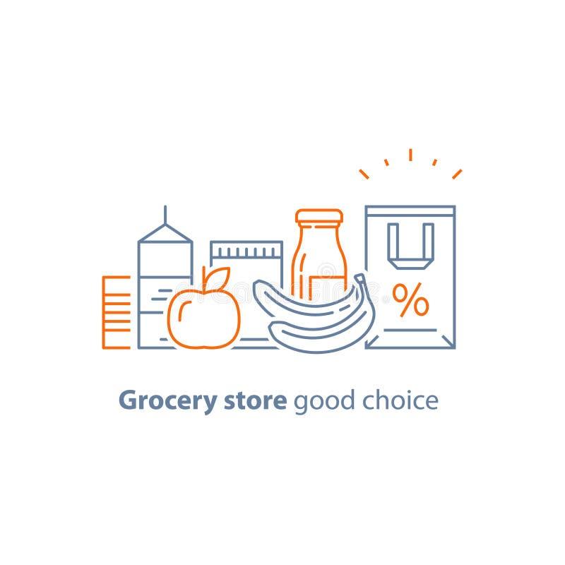 Abundancia de la comida, comida y bebida bien escogidas, pila de productos, concepto del consumo, programa de la lealtad de la ti stock de ilustración