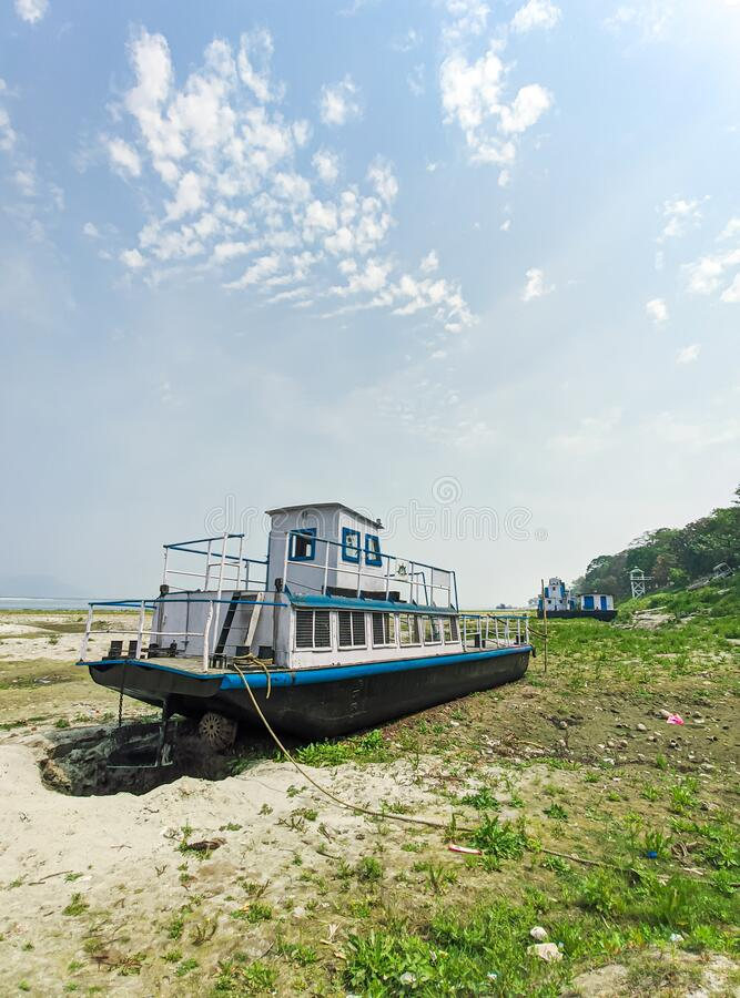 Abundant ship/ferry at Umananda ghat view near the banks Brahmaputra river in guwahati, India. royalty free stock image