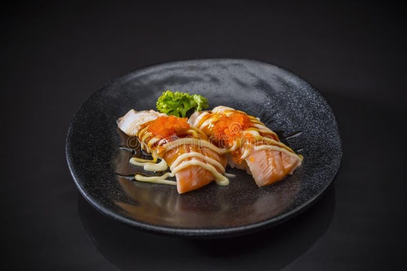 Aburi三文鱼Nigiri 免版税库存图片