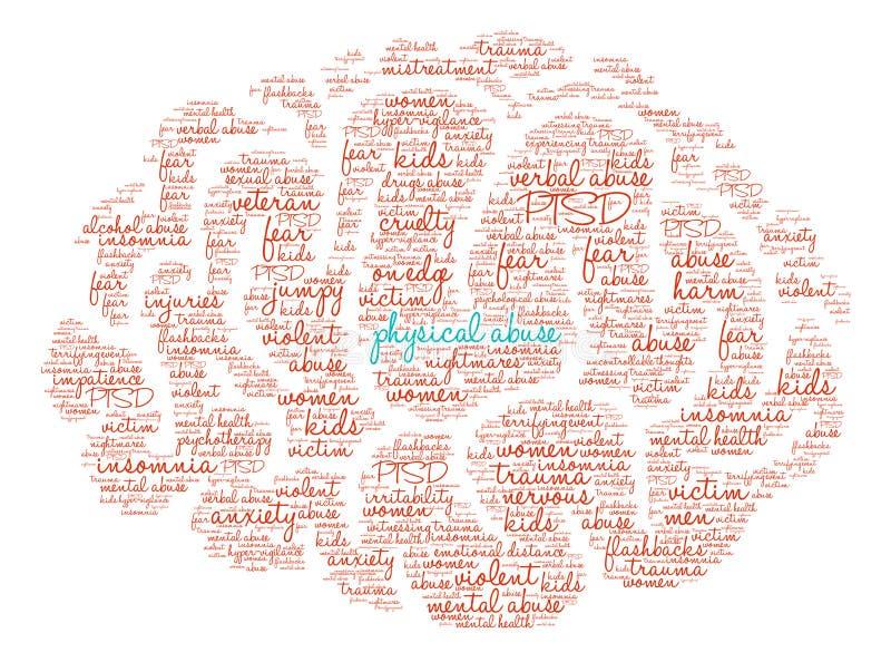 Abus physique Brain Word Cloud illustration libre de droits