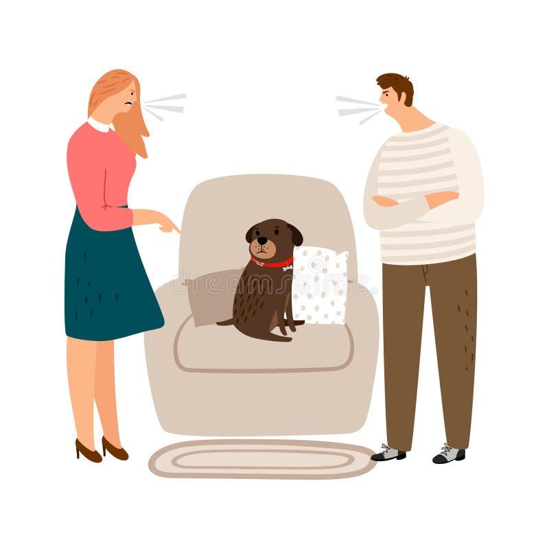 Abuso animal Grito da mulher e do homem, povos irritados e ilustração triste do vetor do cão ilustração stock