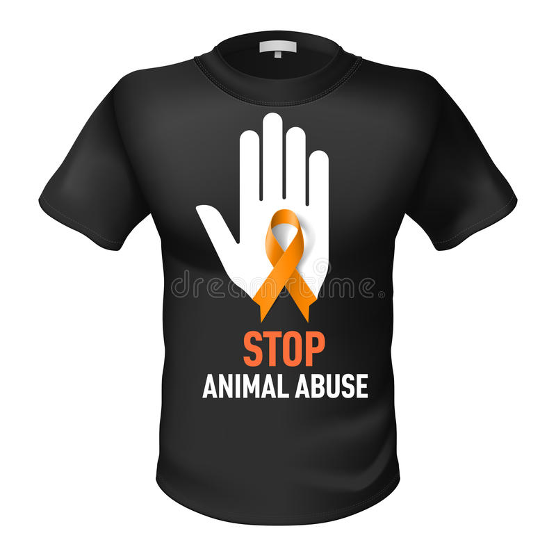 Abuso do animal do t-shirt ilustração do vetor