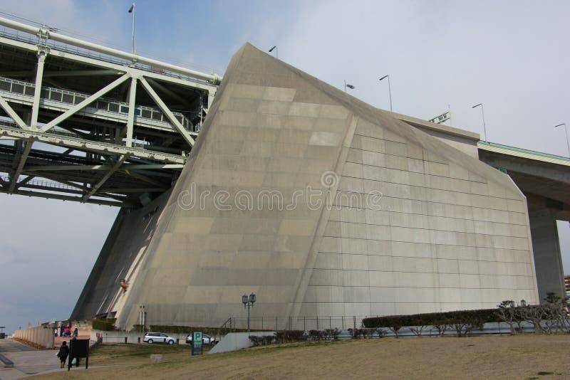 Abutment of akashi kaikyo bridge, kobe, japan stock photos