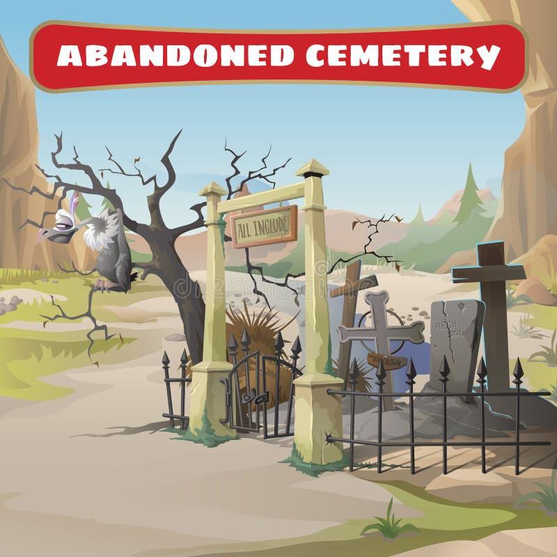 Abutre e um cemitério abandonado ilustração stock