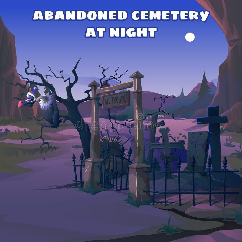 Abutre em um cemitério abandonado na noite ilustração stock