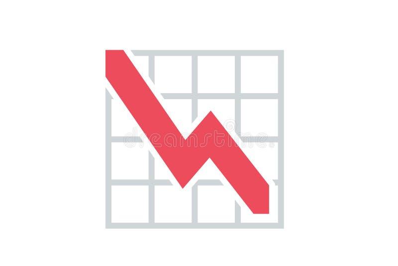 Abwärts neigende grafische Ressource des roten Pfeiles lizenzfreie stockbilder