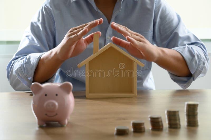 Abwehrgeld für Hauptkosteneinsparungs-Geschäftsbuch oder Wohnungsbaudarlehen der Finanzberichte/Rückhypothek lizenzfreies stockbild