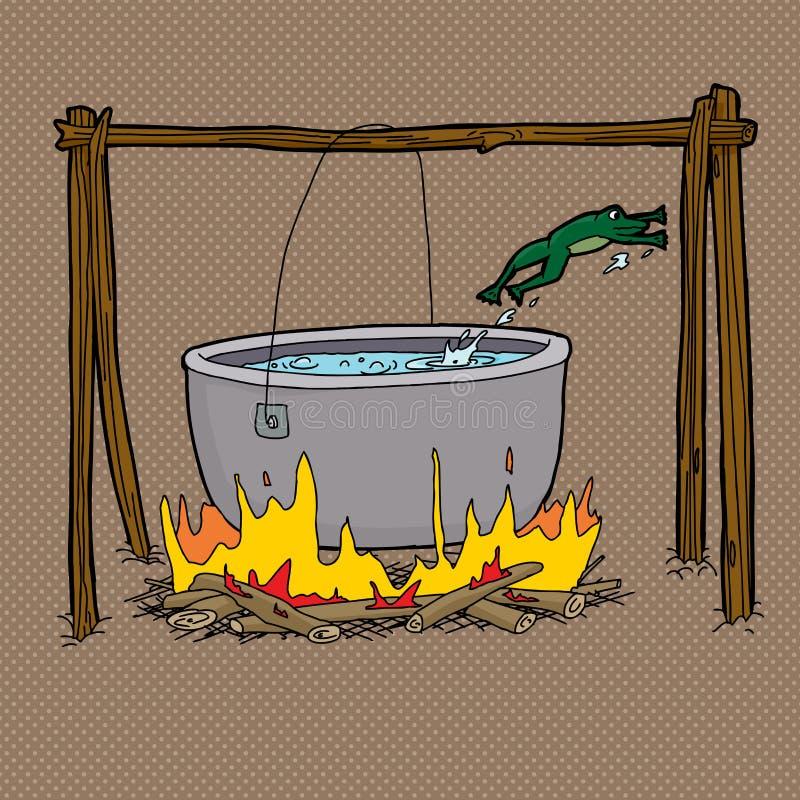 Żaby doskakiwanie Z ognisko garnka ilustracji
