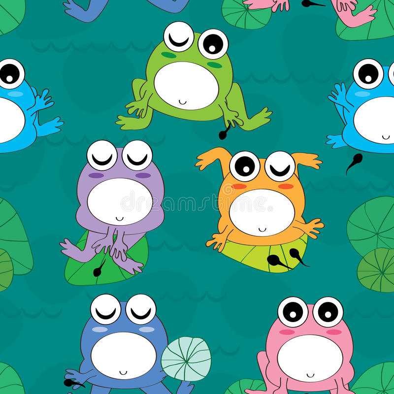 Żaby dziecka Bezszwowy wzór ilustracji