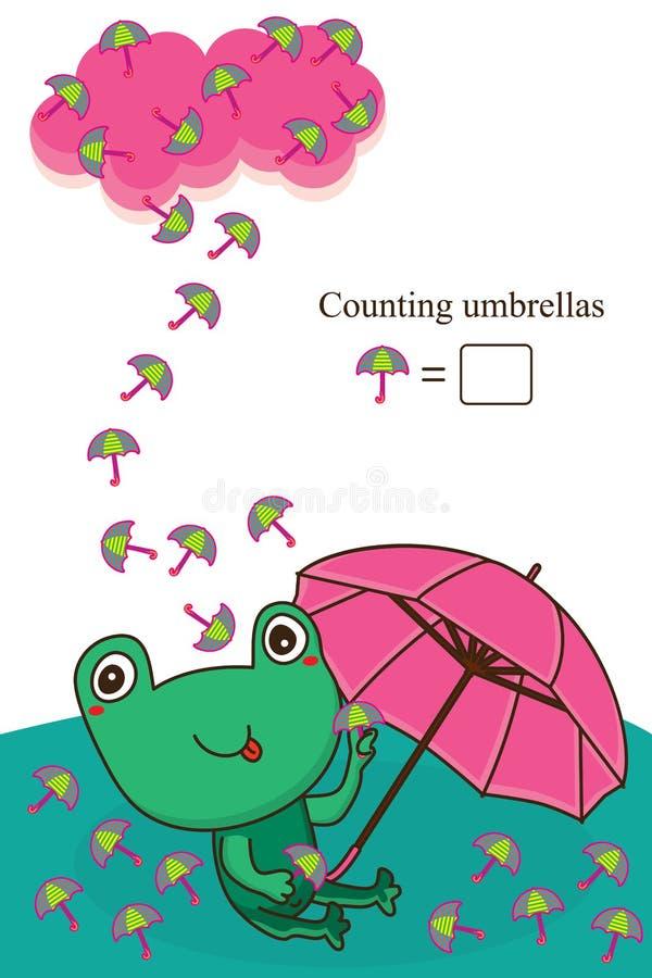 Żaby liczenia parasolowa karta ilustracja wektor