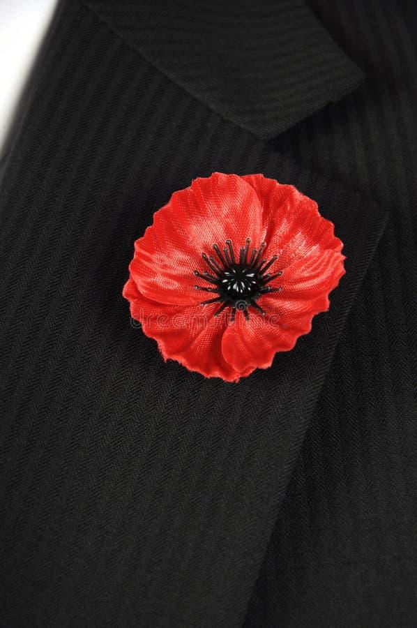 Aby nie Zapominamy Czerwoną Makową Lapel szpilki odznakę na czarnym nadajemy się - vertical obraz royalty free