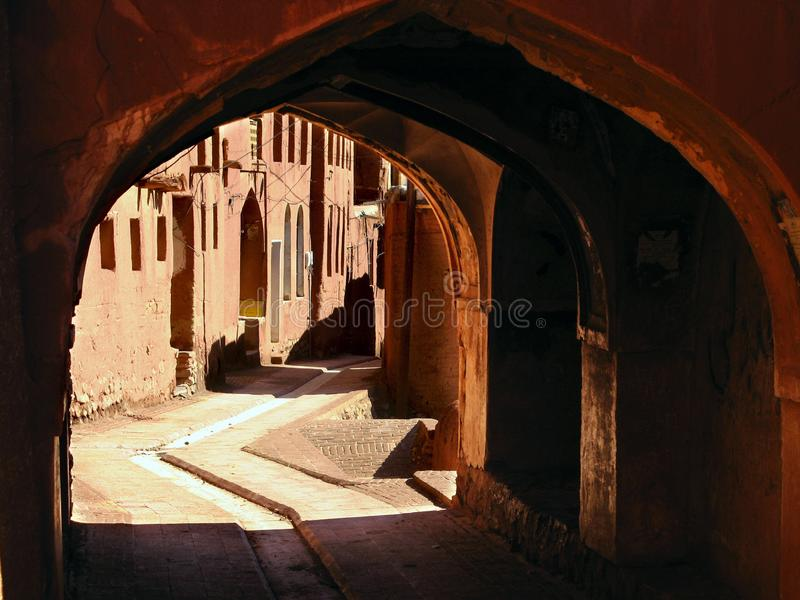 Passage in Abyaneh village. Abyaneh also known as the Red Village because of its red soil and houses, is an ancient Iranian Village located at the foot of Karkas royalty free stock image