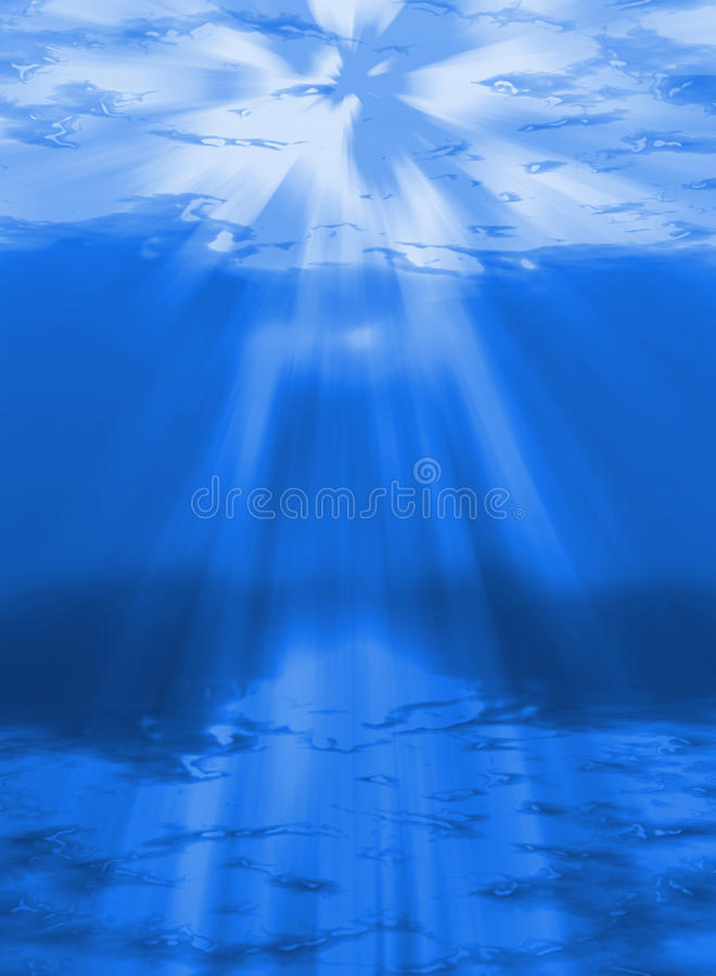 Abyss. An illustration of sunlight shining through the water abyss royalty free illustration