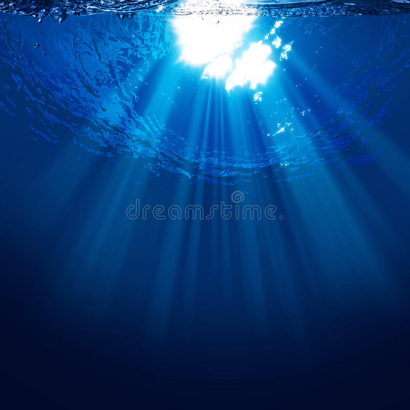 Abyss, abstract underwater backgrounds. With sun beam stock illustration
