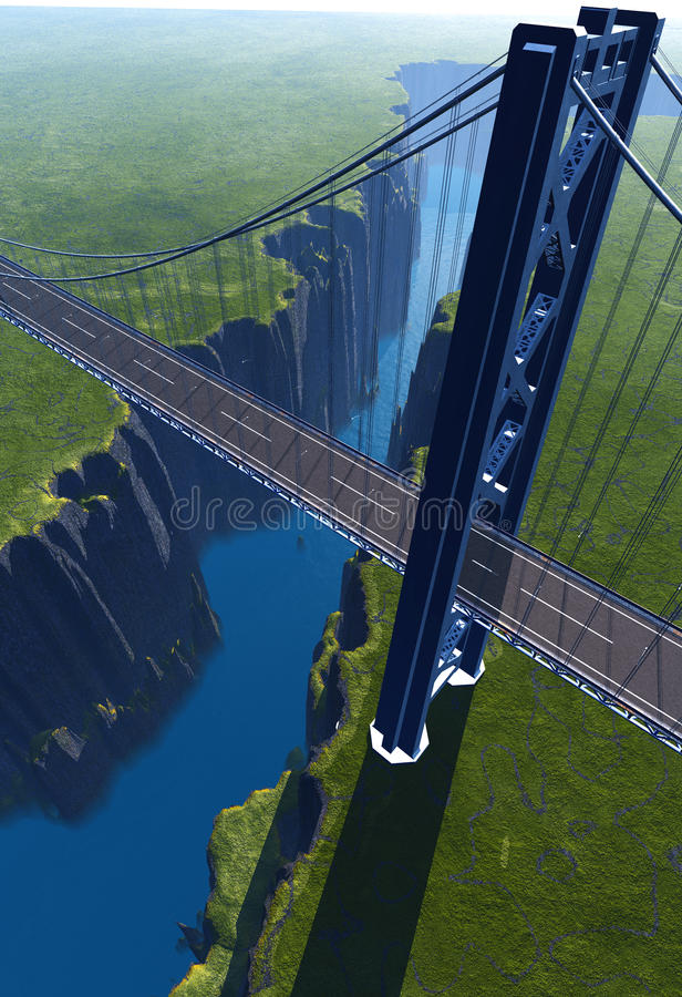 Abyss. The bridge over the abyss stock illustration