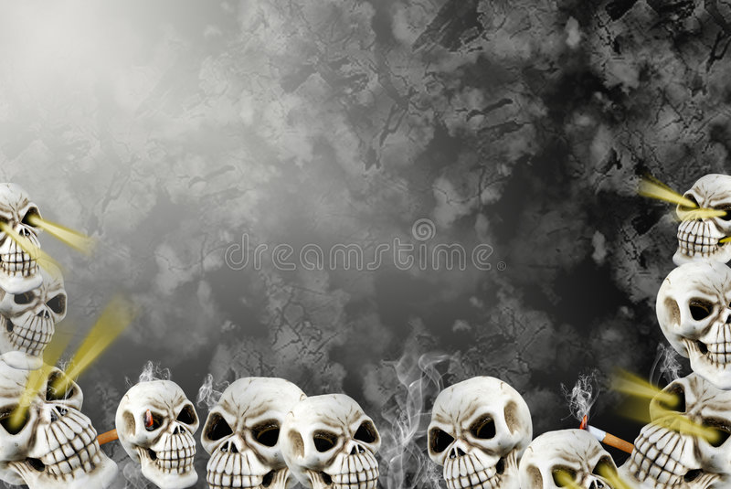 Smoking skulls in abyss. Pile of smoking skulls at the bottom of an abyss stock illustration