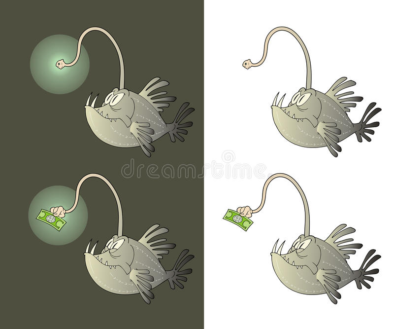 Abyss fish. Abyss cartoon fish using a dollar as bait illustration vector illustration