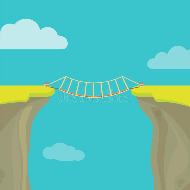 Abyss, gap or cliff concept with bridge sky and clouds. Vector colorful illustration in flat style stock illustration