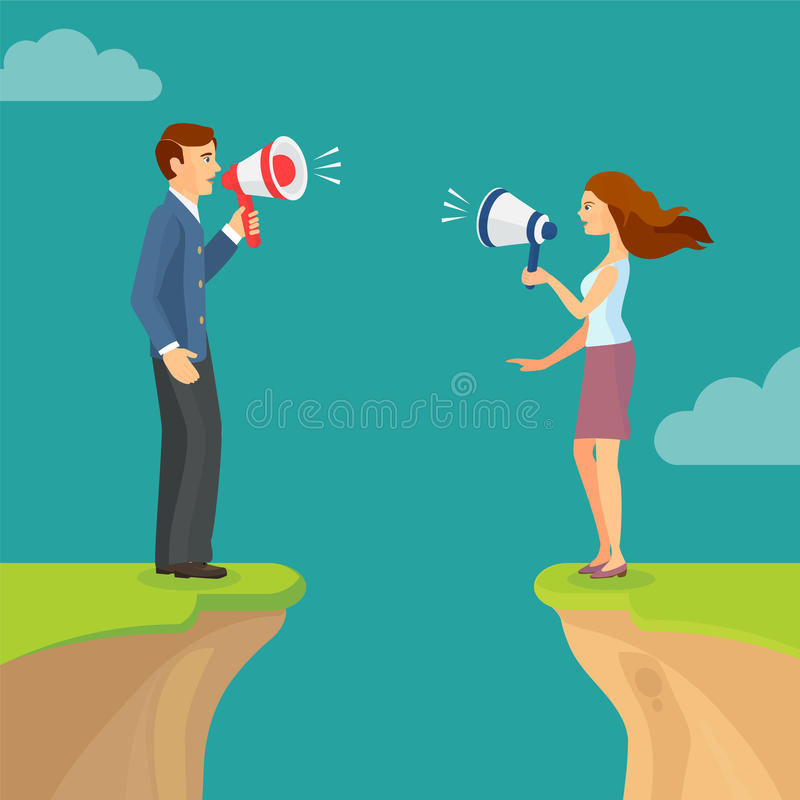 Abyss, gap concept with man and woman shouting trying to sort out relations. Vector colorful illustration in flat style. Abyss, gap concept with man and woman vector illustration