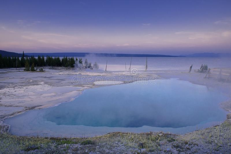 Abyss pool in west thumb area of Yellowstone national park stock images