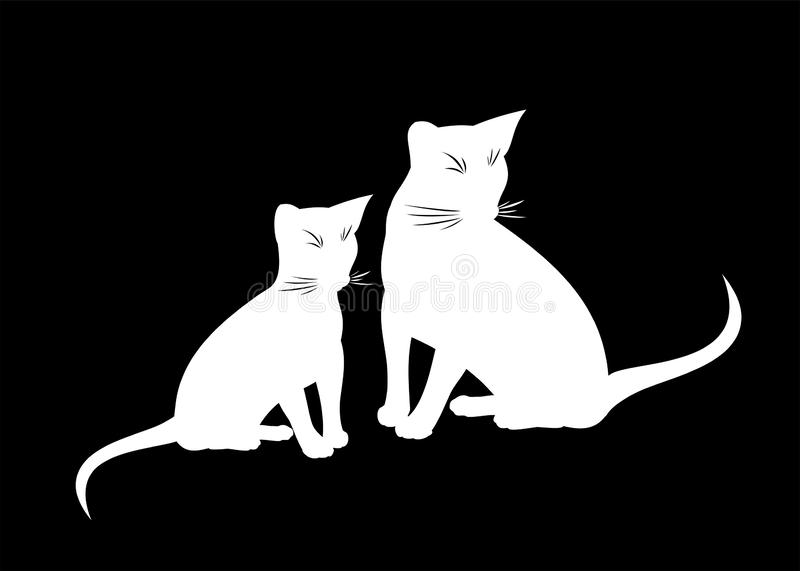 Abyssinian cat and kitten vector isolated illustration. Black and white silhouette of sitting abyssinian cats on black stock illustration