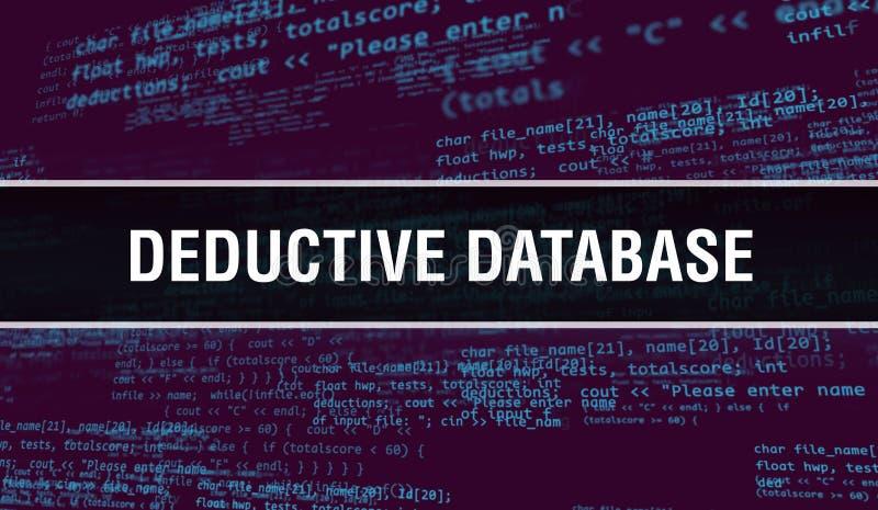 Abzugsdatenbankkonzept mit zufälligen Teilen des Programmcodes Abstrakte Datenbank mit abstrakter Programmier-Code-Technologie stockbilder
