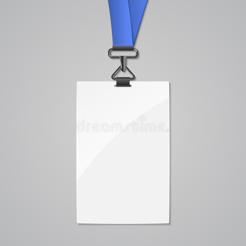 Abzugsleinenausweisidentifikations-Kartenschablone Leeres Identitätsabzugsleinenplastik- und -metalltag entwerfen Namen für Firma lizenzfreie abbildung