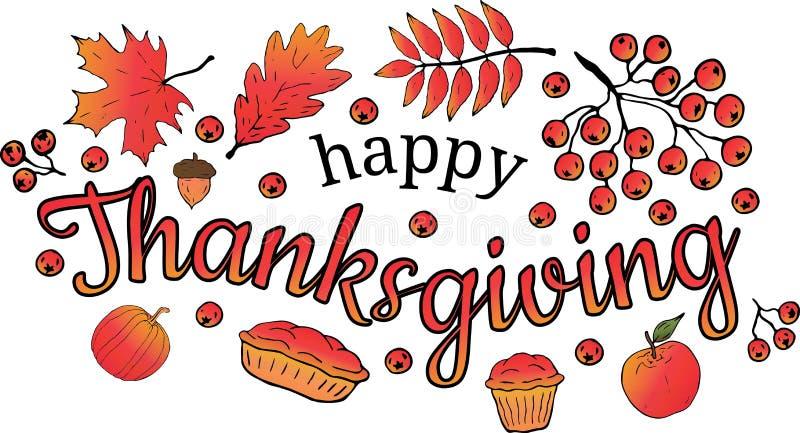 Acção de graças feliz bandeira Folhas do bordo, o carvalho e o Rowan, a bolota, o ramo e as bagas de Rowan, abóbora, maçã, queque ilustração do vetor