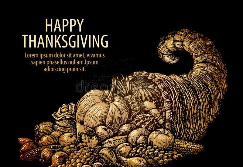 Acção de graças feliz Chifre da abundância Cornucópia com frutas e legumes ilustração do vetor