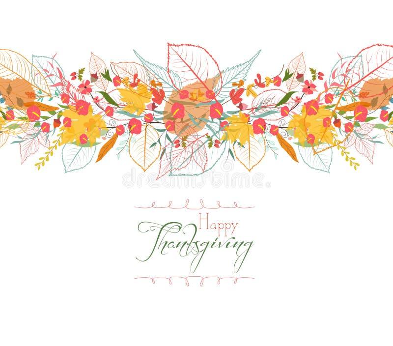 Acção de graças feliz Fundo das folhas de outono estilizados para cartões ilustração do vetor