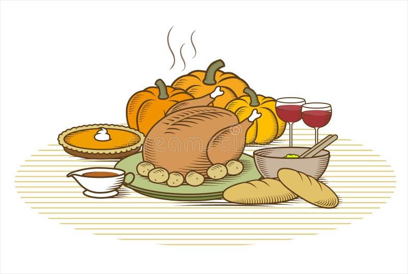 Acção de graças Turquia (cor) ilustração do vetor