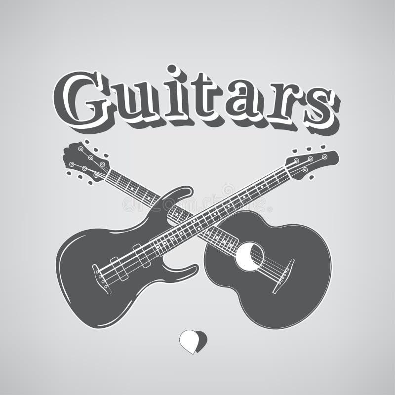 Acústico y Bass Guitars stock de ilustración
