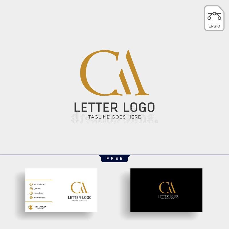 ac письма, шаблон логотипа золота ca творческий с визитной карточкой иллюстрация штока