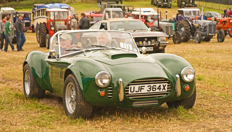 AC Cobra kit car at Roseisle. stock image