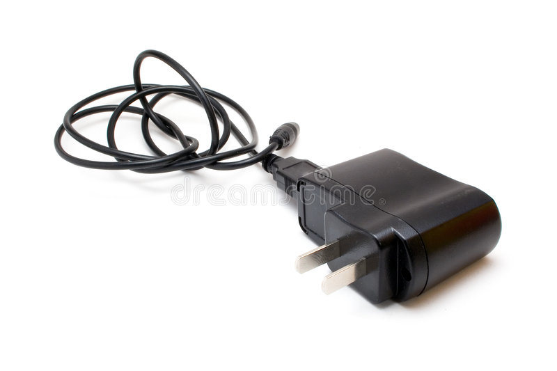 AC/DC adaptor. AC/DC power adaptor isolated on white background stock photography
