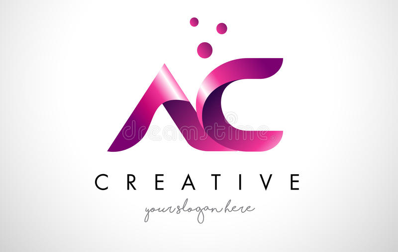 AC Letter Logo Design with Purple Colors and Dots royalty free illustration
