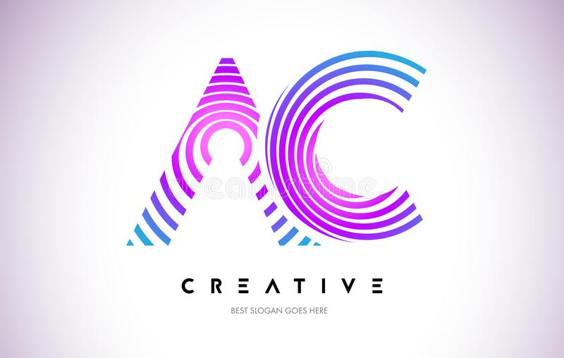 AC Lines Warp Logo Design. Letter Icon Made with Purple Circular royalty free illustration