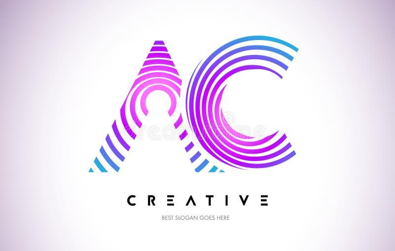 Ac-linjer snedvrider Logo Design Bokstavssymbol som göras med det purpurfärgade cirkuläret royaltyfri illustrationer