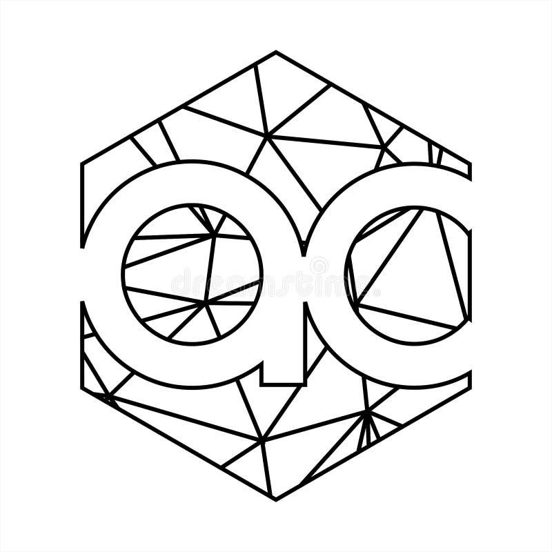 Ac märker med sina initialer den geometriska linjen konstlogo för triangeln vektor illustrationer